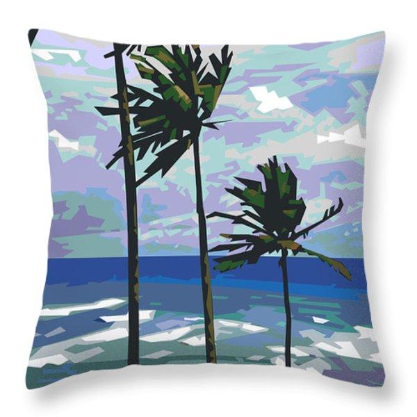 Three Palms Throw Pillow by Douglas Simonson