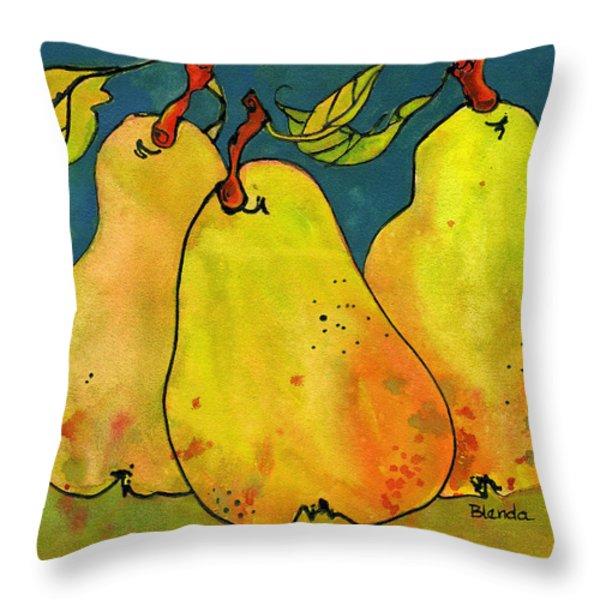 Three Pears Art  Throw Pillow by Blenda Studio
