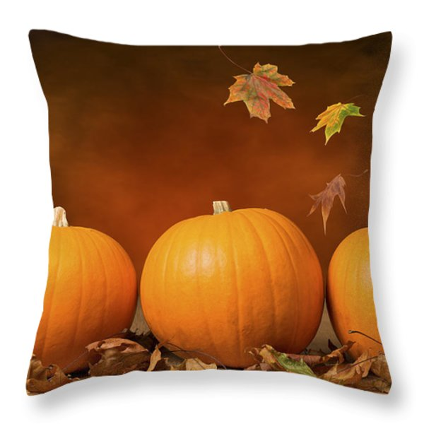 Three Pumpkins Throw Pillow by Amanda And Christopher Elwell
