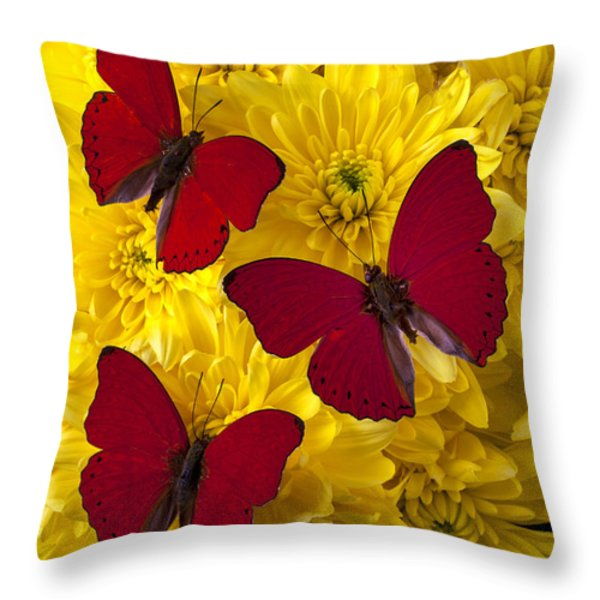 Three Red Butterflys Throw Pillow by Garry Gay