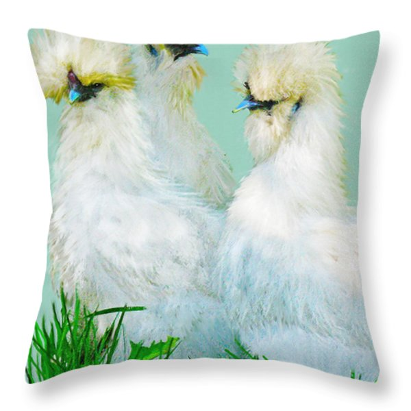 Three Silky Ladies Throw Pillow by Jane Schnetlage