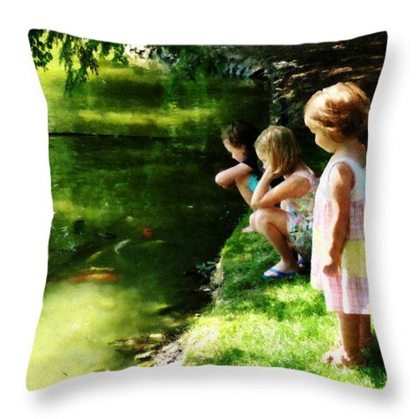 Three Sisters Watching Koi Throw Pillow by Susan Savad