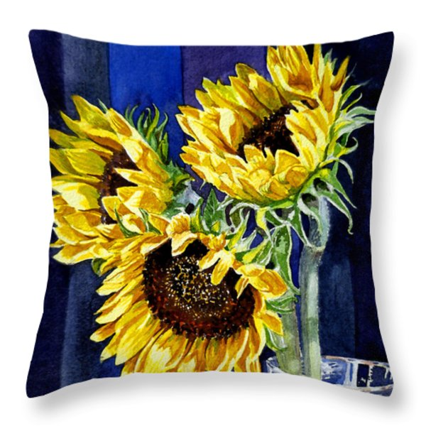 Three Sunny Flowers Throw Pillow by Irina Sztukowski