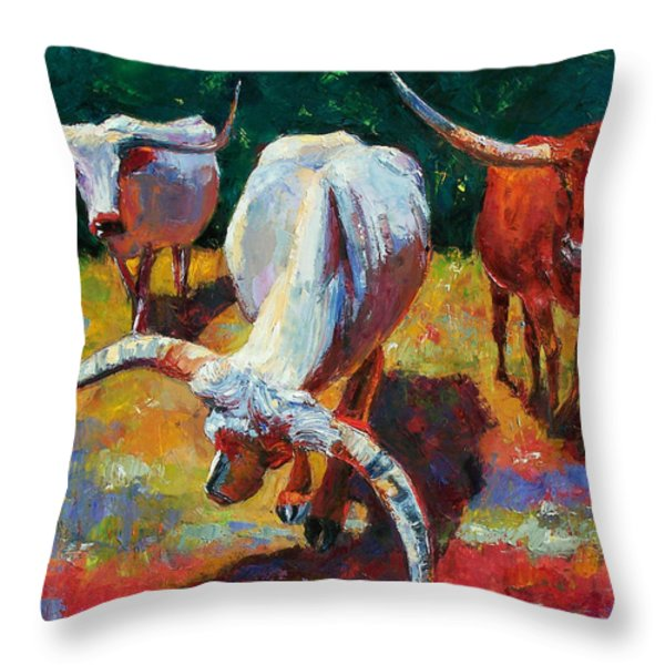 Three Texas Longhorns Throw Pillow by Debra Hurd
