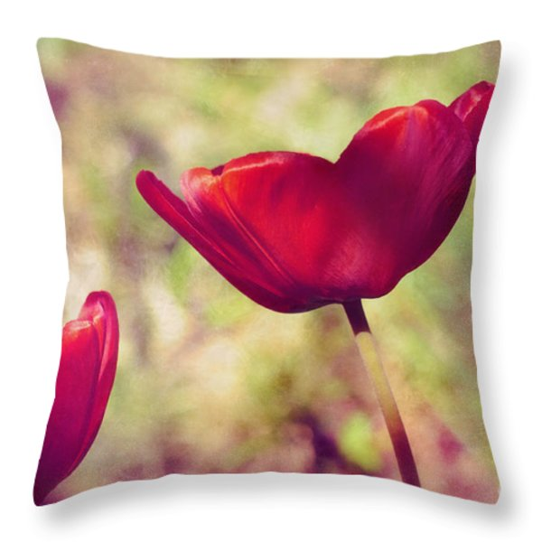 Three Tulips Throw Pillow by Silvia Ganora