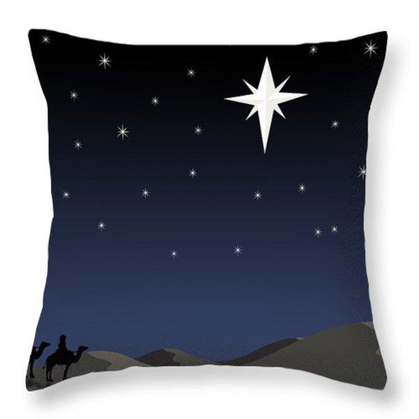 Three Wisemen Following Star Throw Pillow by Daniel Sicolo