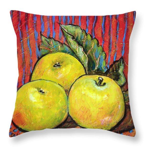 Three Yellow Apples Throw Pillow by Blenda Studio