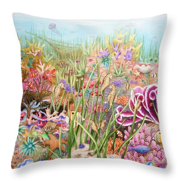 Thriving Ocean  Throw Pillow by Katherine Young-Beck