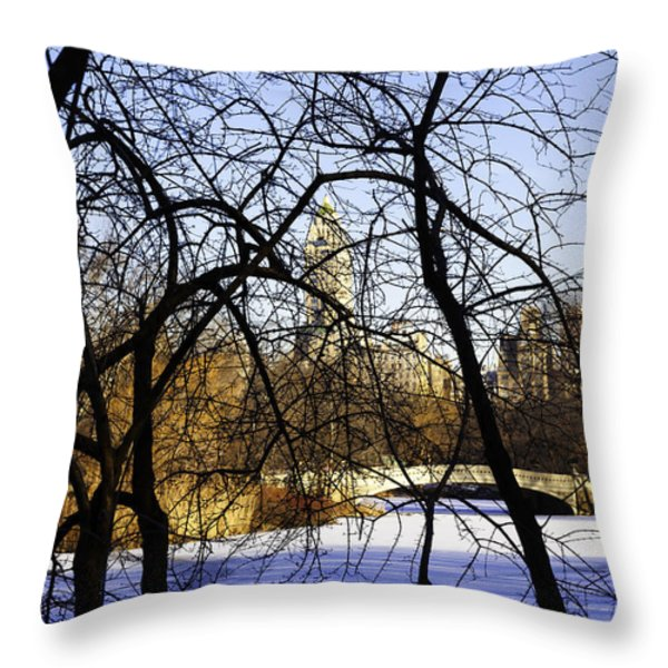 Through The Branches 3 - Central Park - Nyc Throw Pillow by Madeline Ellis
