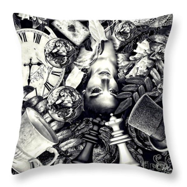 Through the Looking-Glass Throw Pillow by Mo T