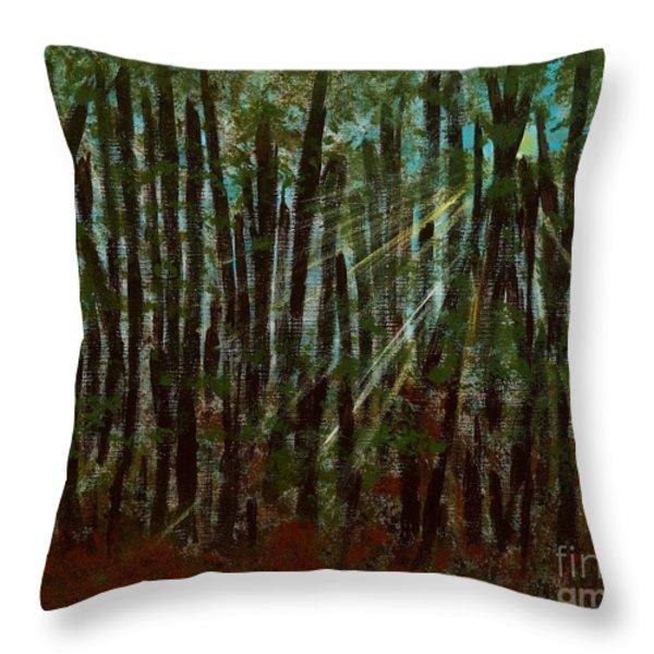 Through The Trees Throw Pillow by Hillary Binder-Klein