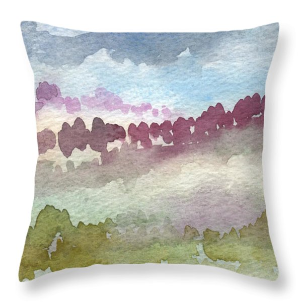 Through The Trees Throw Pillow by Linda Woods