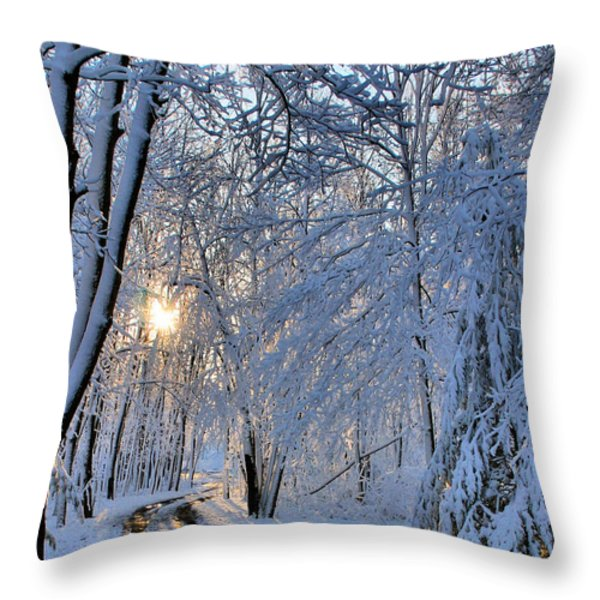 Through the Woods Throw Pillow by Kristin Elmquist