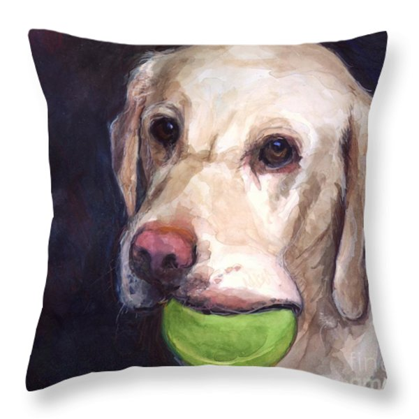 Throw the Ball Throw Pillow by Molly Poole