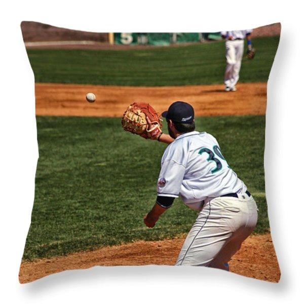 Throw To First Throw Pillow by Karol  Livote