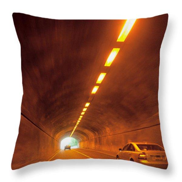 Thru The Tunnel Throw Pillow by Karol  Livote