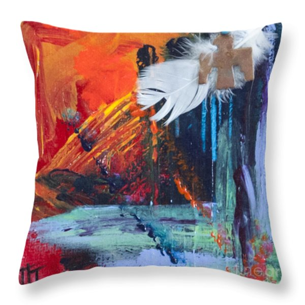 Thunder Bird Abstract Throw Pillow by Tracy L Teeter