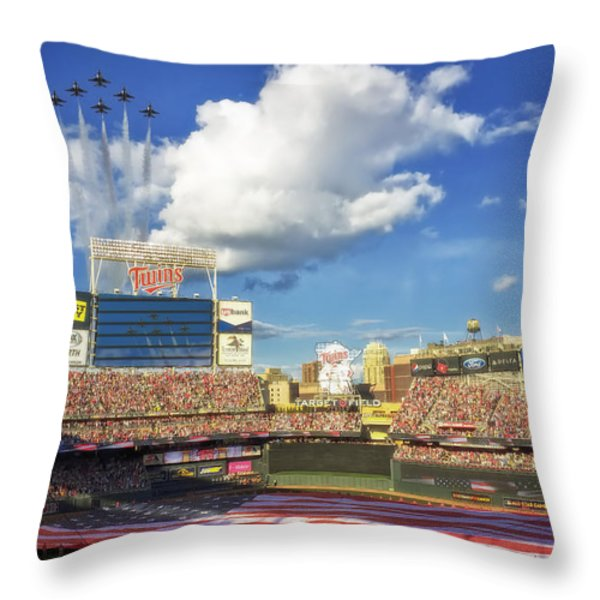 Thunderbird Flyover at Target Field for All Star Game Throw Pillow by Mountain Dreams