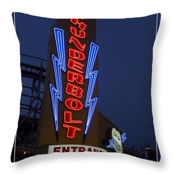 Thunderbolt Rollercoaster Neon Sign Throw Pillow by Edward Fielding