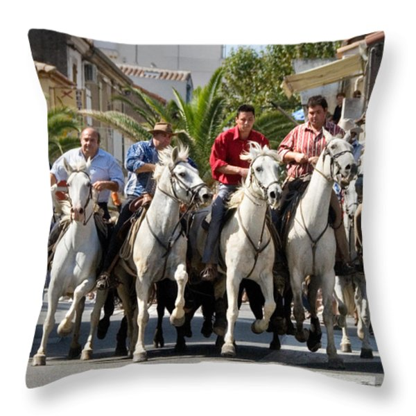 Thundering Hooves Throw Pillow by William Beuther