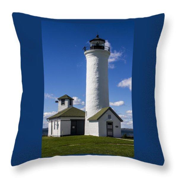 Tibbetts Point Lighthouse Throw Pillow by Ben and Raisa Gertsberg