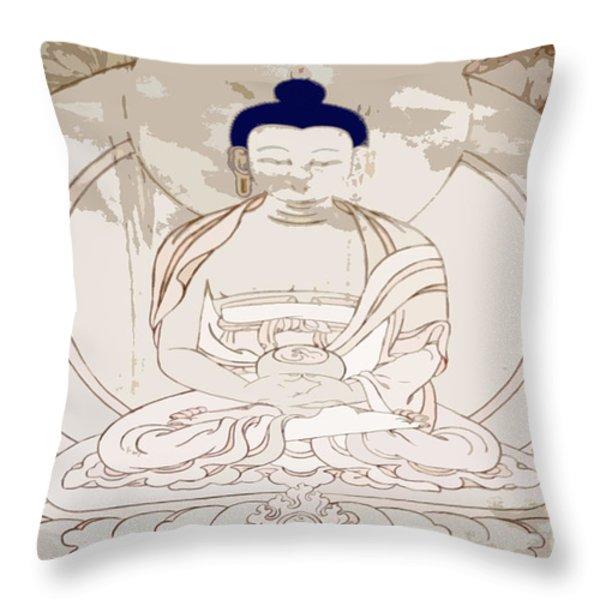 Tibet Buddha Throw Pillow by Kate McKenna