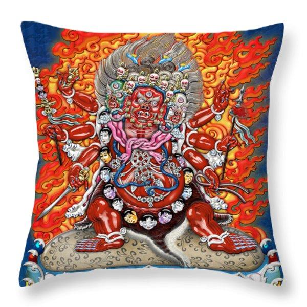 Tibetan Thangka  - Wrathful Deity Hayagriva Throw Pillow by Serge Averbukh