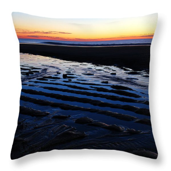 Tidal Ripples at Sunrise Throw Pillow by James Kirkikis