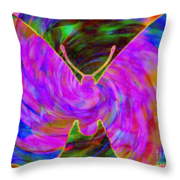 Tie-dye Butterfly Throw Pillow by Elizabeth McTaggart