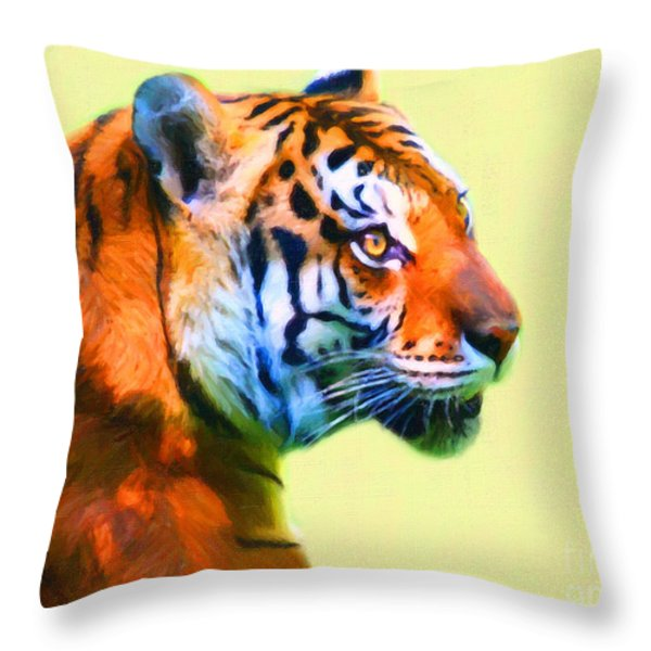Tiger . 7d2058 . Painterly Throw Pillow by Wingsdomain Art and Photography