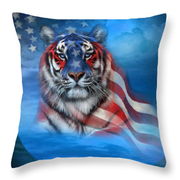 Tiger Flag Throw Pillow by Carol Cavalaris