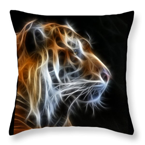 Tiger Fractal 2 Throw Pillow by Shane Bechler