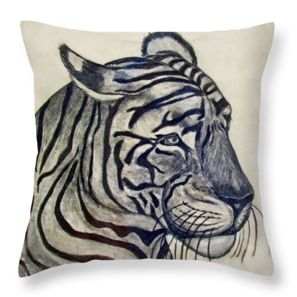 Tiger II Throw Pillow by Debbie Portwood
