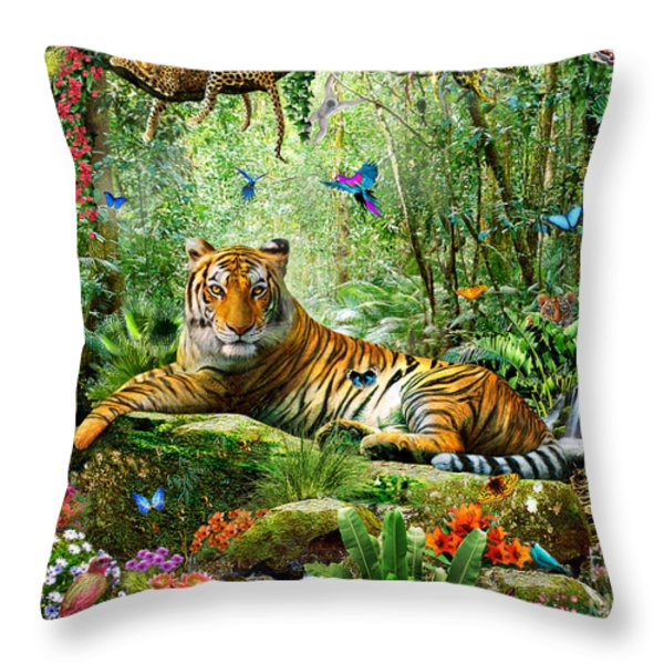 Tiger In The Jungle Throw Pillow by Adrian Chesterman