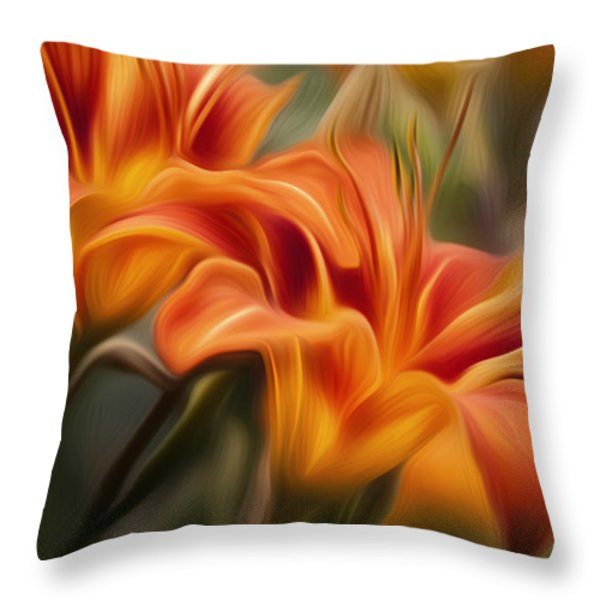 Tiger Lily Throw Pillow by Bill  Wakeley