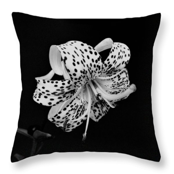 Tiger Lily in Black and White Throw Pillow by Sandy Keeton