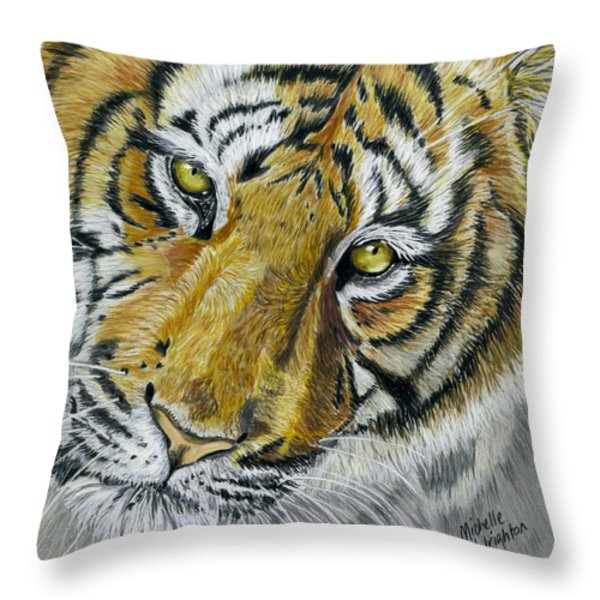 Tiger Painting Throw Pillow by Michelle Wrighton