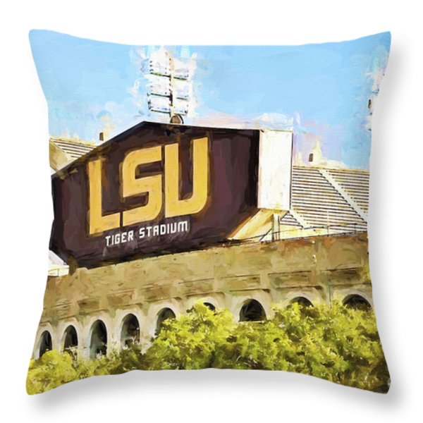 Tiger Stadium Throw Pillow by Scott Pellegrin
