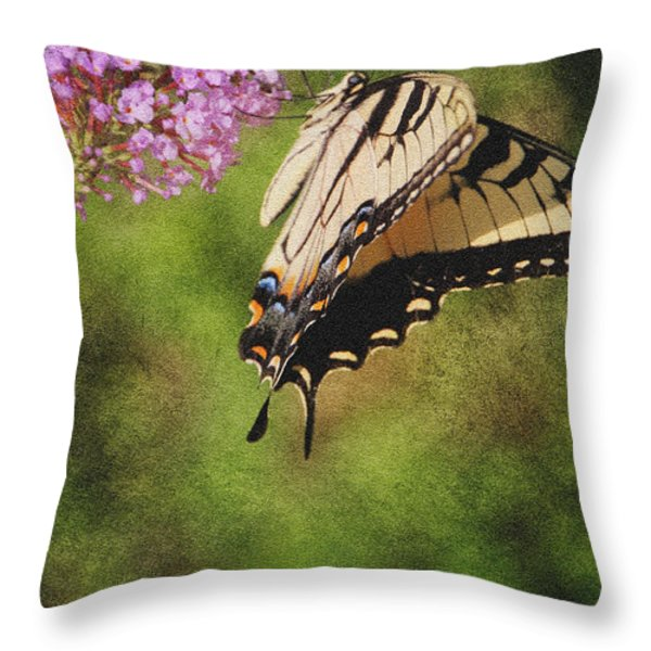 Tiger Swallowtail-featured In Photography And Textures And Harmony-happiness Groups Throw Pillow by EricaMaxine  Price