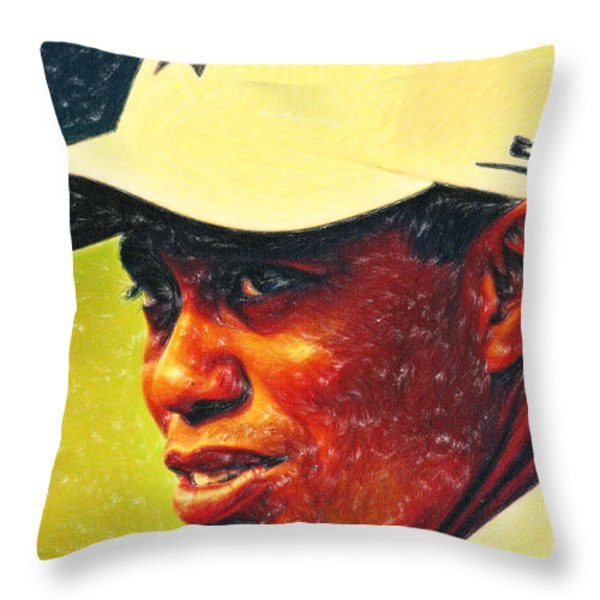 Tiger Woods 2 Crayons Throw Pillow by MotionAge Designs