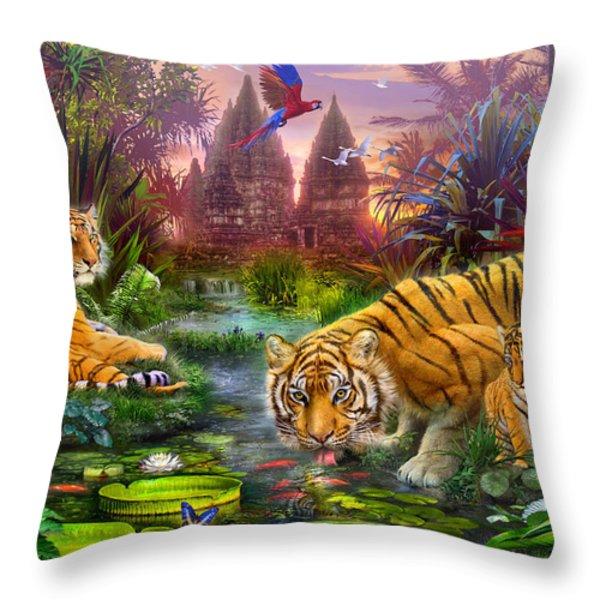 Tigers at the Ancient Stream Throw Pillow by Jan Patrik Krasny