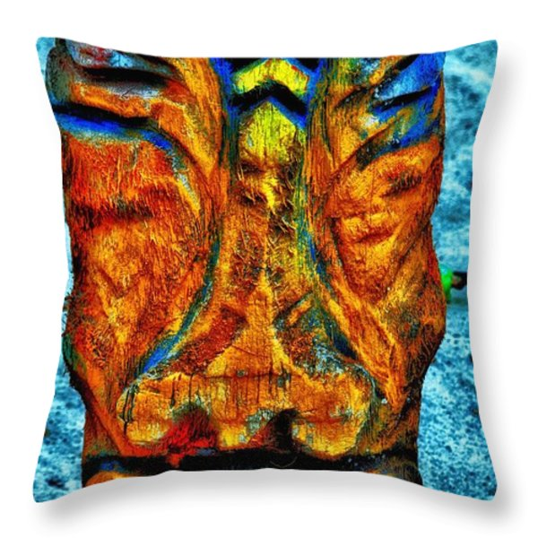 Tiki God Throw Pillow by Todd and candice Dailey