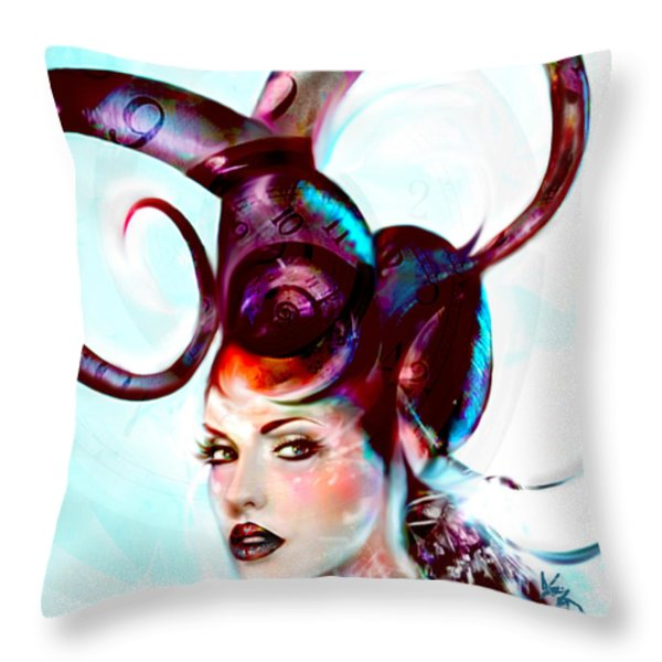 Sci Fi Fantasy Spirals In Time Throw Pillow by Jaimy Mokos