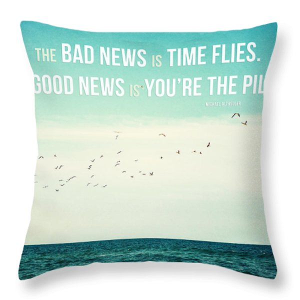 Time Flies Throw Pillow by Lisa Russo