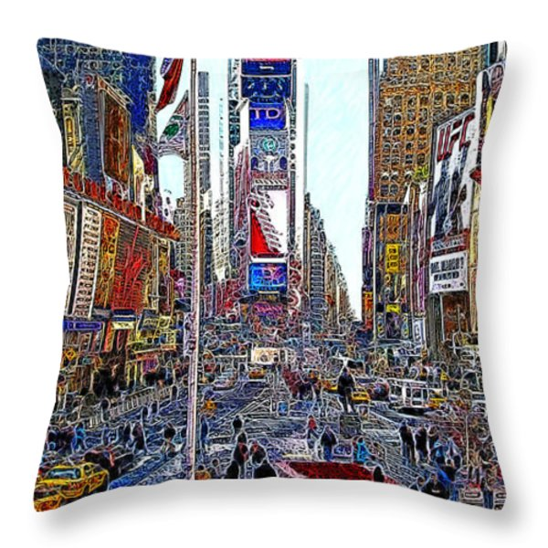 Time Square New York 20130430 Throw Pillow by Wingsdomain Art and Photography