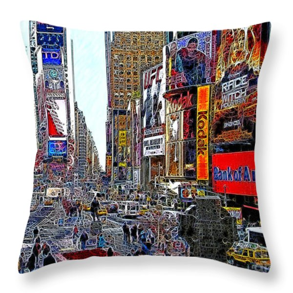 Time Square New York 20130503v4 Throw Pillow by Wingsdomain Art and Photography