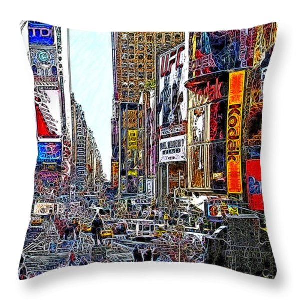 Time Square New York 20130503v7 Throw Pillow by Wingsdomain Art and Photography