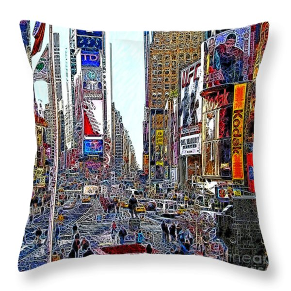 Time Square New York 20130503v8 square Throw Pillow by Wingsdomain Art and Photography