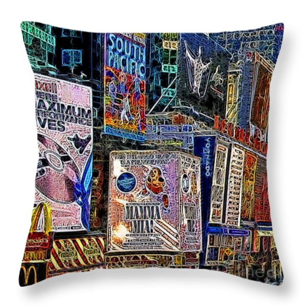 Time Square New York 20130503v9 square Throw Pillow by Wingsdomain Art and Photography