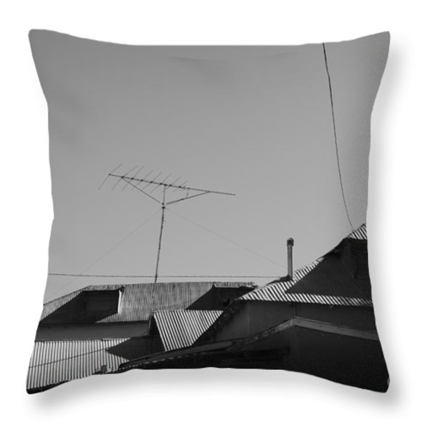 Tin Rooftops Chimayo New Mexico Throw Pillow by David Gordon